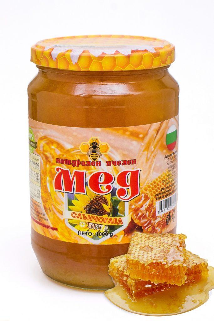 Мед слънчоглед с восъчна пита